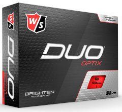 Wilson Duo Optix Red printed golf balls | Best4SportsBalls